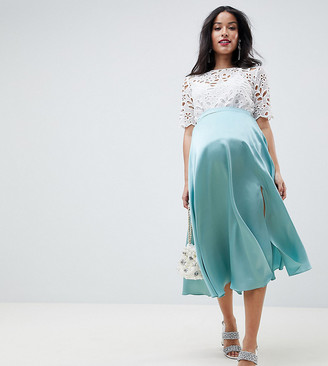 Asos DESIGN Maternity satin midi skirt with side split-Green