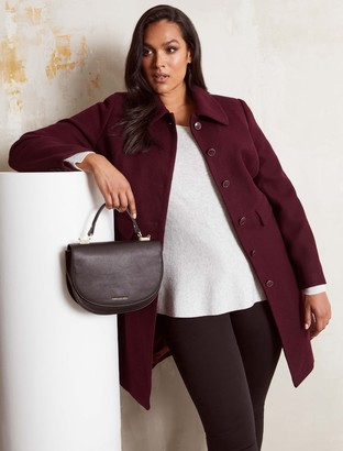 Forever New Emily Curve Dolly Coat - Berry - 16