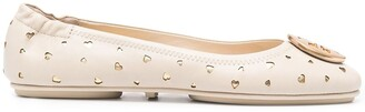 Tory Burch Logo-Plaque Studded Ballerina Shoes