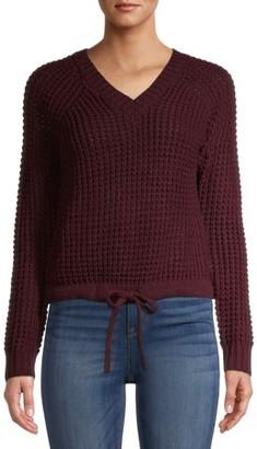 No Boundaries Juniors' Cinched Waist V-Neck Sweater