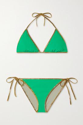 Tooshie Hampton Metallic-trimmed Reversible Bikini - Green
