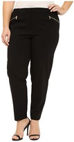 Calvin Klein Plus Plus Size Skinny Pants with Zippers (Black) Women's Casual Pants