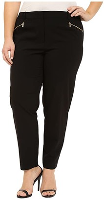 Calvin Klein Plus Plus Size Skinny Pants with Zippers (Black) Women's Casual Pants