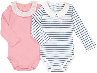 La Redoute Collections Pack of 2 Long-Sleeved Bodysuits with Collar, Birth-3 Years