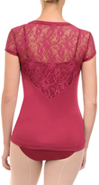 Danskin Merlot Lace Back Tee - Women