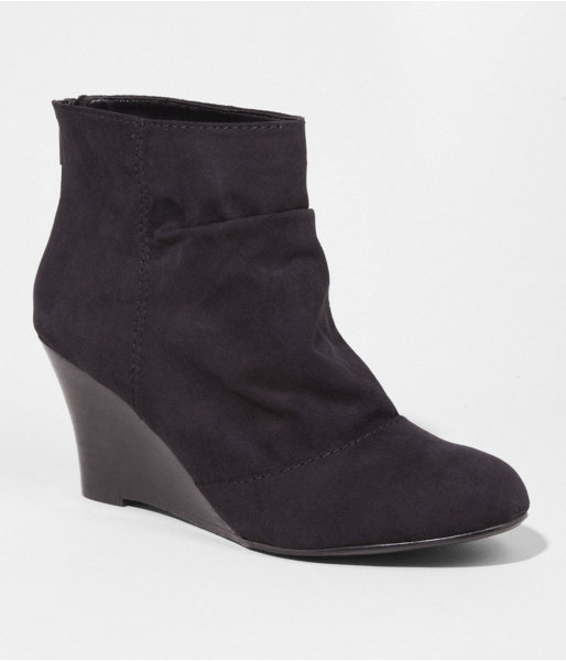 Express Ruched Back Zip Wedge Bootie