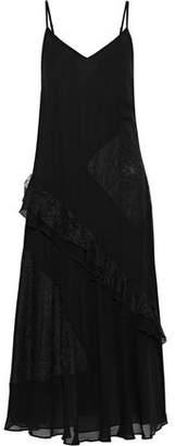 Derek Lam 10 Crosby Lace-paneled Ruffled Georgette Midi Dress