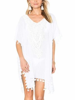 Kaei&Shi Batwing Lace Beach Coverups for Women Crochet Floral Beach Wear Pom Trimmed Cover Up