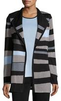 Misook Solid Borders Striped Long-Sleeve Jacket, Plus Size