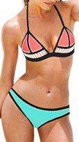 Ebuddy Hand Sewn Crochet Blanket Stitch Women Neoprene Bikini Top Bottom Set Swimwear, (M)