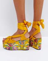 MANGO Floral Jaquard Tie Up Flatform Sandals