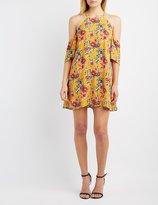 Charlotte Russe Floral Cold Shoulder Shift Dress
