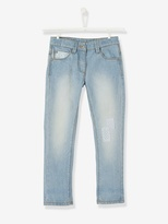 Vertbaudet Girls Boyfriend-Style Jeans with Patches