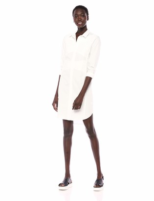 Halston Women's Long Sleeve Button-Down Shirtdress with Pleating