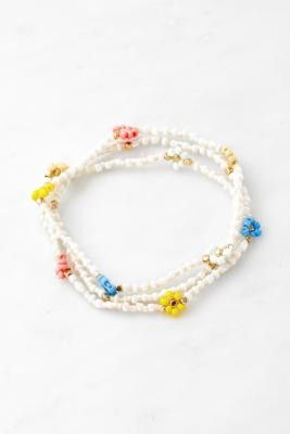 Urban Outfitters Beaded Flower Bracelet 3-Pack - Assorted ALL at
