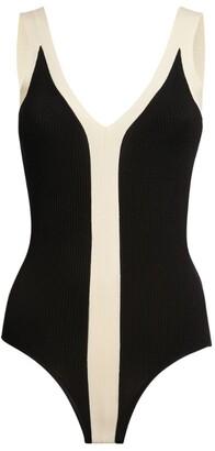 Sandro Paris Monochrome Rib-Knit Dress