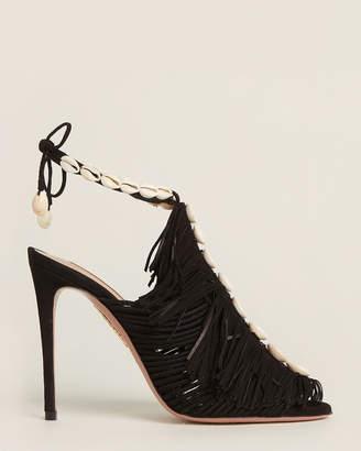 Aquazzura Black So Tulum Fringe Suede Sandals