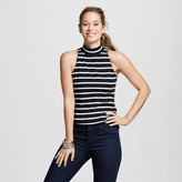 XOXO Women's Stripe Mock Neck Halter Top Juniors')