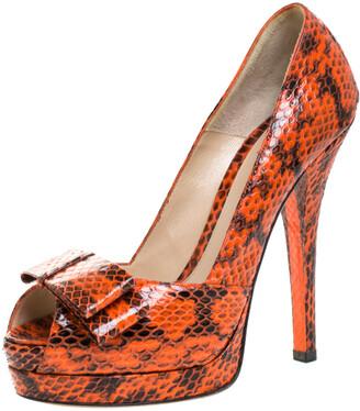 Fendi Orange Python Leather Bow Platform Pumps Size 39