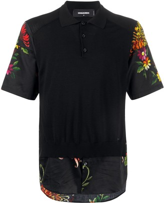 DSQUARED2 Floral Print Layered Polo Shirt