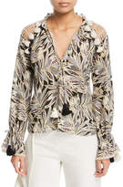 Alexis Seila Split-Neck Long-Sleeve Palm-Print Top