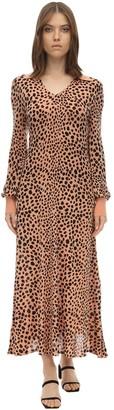 Rixo Piper Leopard Print Silk Knit Dress