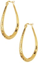 Argentovivo 18K Gold Plated Sterling Silver Teardrop Hoop Earrings