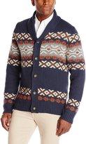 Haggar Men's Fairisle Pattern Shawl Collar Cardigan Sweater
