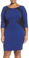 Sangria Plus Size Women's Colorblock Knit Sheath Dress