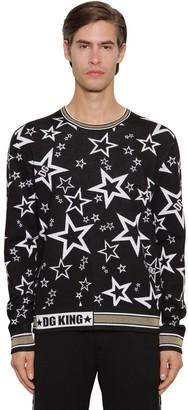Dolce & Gabbana Jacquard Knit Virgin Wool Blend Sweater