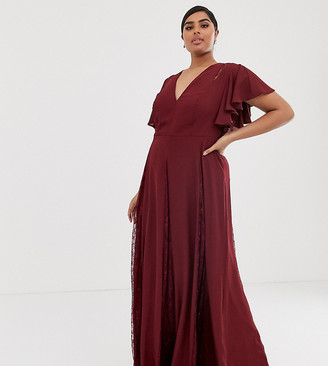 Asos DESIGN Curve maxi dress with lace godet inserts-Red