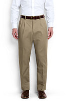 Classic Men's Long Pleat Front Traditional Fit No Iron Chino Pants-Light Stone