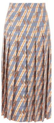 Gucci Pleated Giraffe And Stripe-print Silk Midi Skirt - Ivory Multi