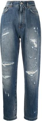 Dolce & Gabbana High-Waist Distressed-Effect Jeans