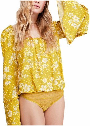 Free People Womens Gold Snap Closure Floral Long Sleeve Jewel Neck Top UK Size:12
