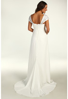 Nicole Miller Chiffon Gown With Embellished Cap Sleeves