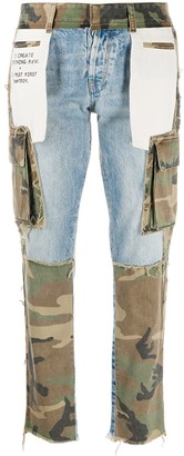 Unravel Project Camouflage-Print Panelled Jeans