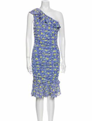 Diane von Furstenberg Floral Print Midi Length Dress w/ Tags Blue