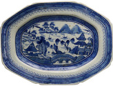 One Kings Lane Vintage Antique Chinese Export Canton Platter - Rose Victoria - blue/white