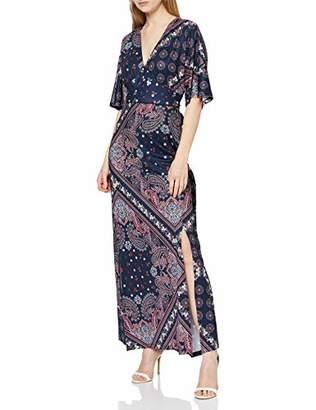 Yumi Ditsy Scarf Print Maxi Dress With Kimono Sleeve