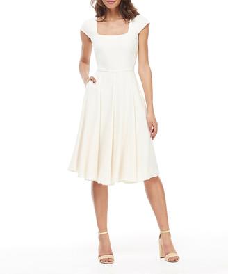Gal Meets Glam Women's Casual Dresses CREAM - Cream Pocket Regina Cap-Sleeve A-Line Dress - Women & Juniors