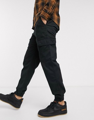 New Look cuffed cargo pants in black