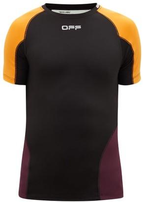 Off-White Logo-print Technical-stretch T-shirt - Black Orange