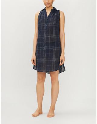 Selfridges Check linen and cotton-blend sleep shirt dress
