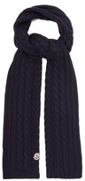 Moncler Cable-knit Wool Scarf - Womens - Navy