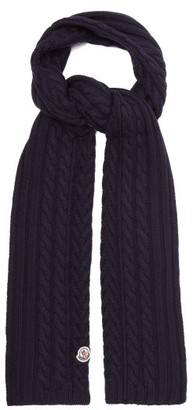 Moncler Cable-knitted Wool Scarf - Womens - Navy