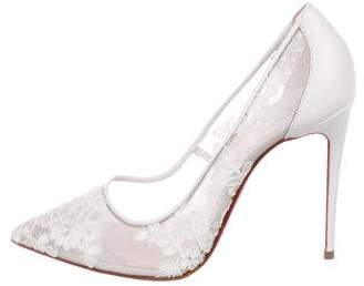 Christian Louboutin Lace Pointed-Toe Pumps