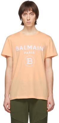 Balmain Orange Flocked Logo T-Shirt
