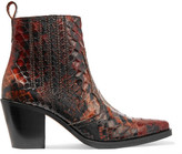 GANNI - Maryse Croc-effect Leather Ankle Boots - Brown