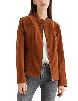 MEHEPBURN Women's Faux Suede Leather Jackets Long Sleeve Zipper Short Moto Biker Jacket Black L
